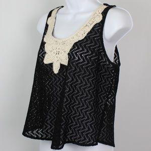Lush black white crochet tank top